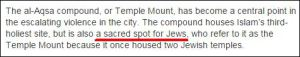 Das al-Aqsa-Gelände bzw. der Tempelberg ist zu einem zentralen Punkt bei der eskalierenden Gewalt in der Stadt geworden. Das Gelände beherbergt die drittheiligste Stätte des Islam, ist aber auch ein heiliger Ort für Juden, die ihn als Tempelberg bezeichnen, weil sich einst zwei jüdische Tempel auf ihm befanden.
